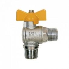 Кран шаровой угловой ITAP 060 - 1/2' (НР/НР, PN5, ручка-бабочка желтая, для газа) 060B012