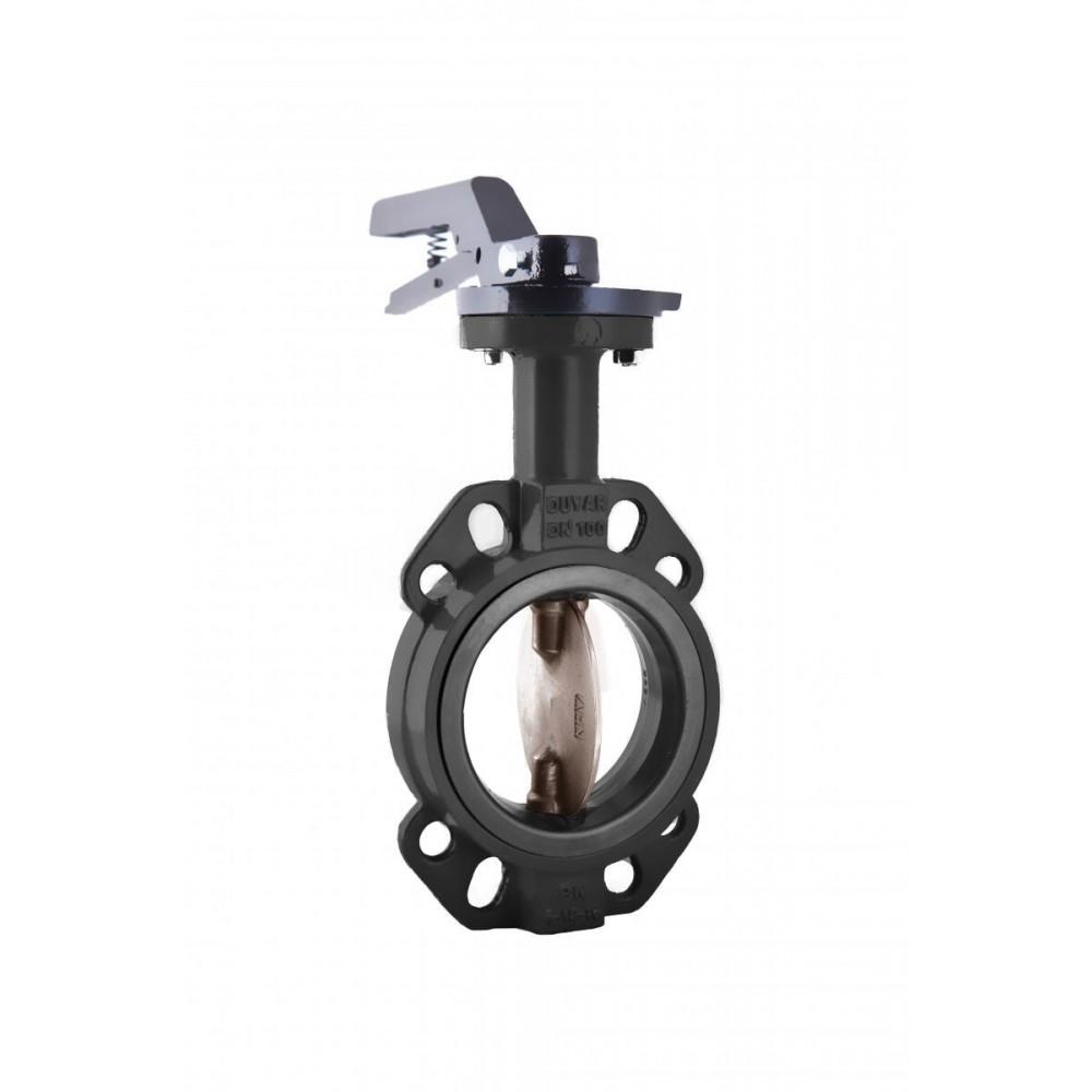 Затвор дисковый поворотный чугунный ЗДМ Ду 65 Ру16 межфланцевый с рукояткой диск чугунный манжета EPDM Ридан 082X4402