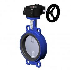 Затвор дисковый поворотный чугунный Ду 150 Ру10/16 межфланцевый с редуктором диск нерж EURO Benarmo
