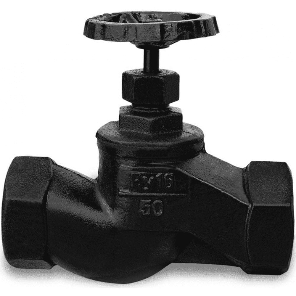 Клапан запорный чугунный 15кч18п Ду 50 Ру16 Тмакс=225 оС ВР с маховиком