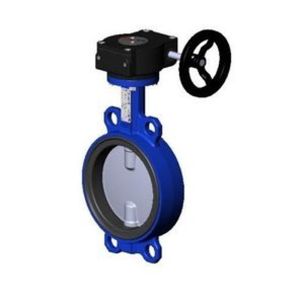 Затвор дисковый поворотный чугунный Ду 150 Ру16 межфланцевый с редуктором диск чугунный