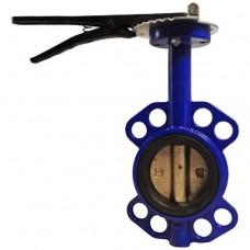 Затвор дисковый поворотный чугунный Ду 40 Ру16 межфланцевый с рукояткой манжета EPDM