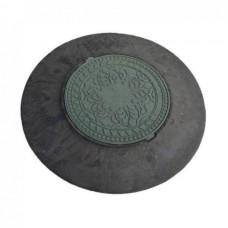 Конус колодца с зеленым люком d1000 h110 полимерпесчаный
