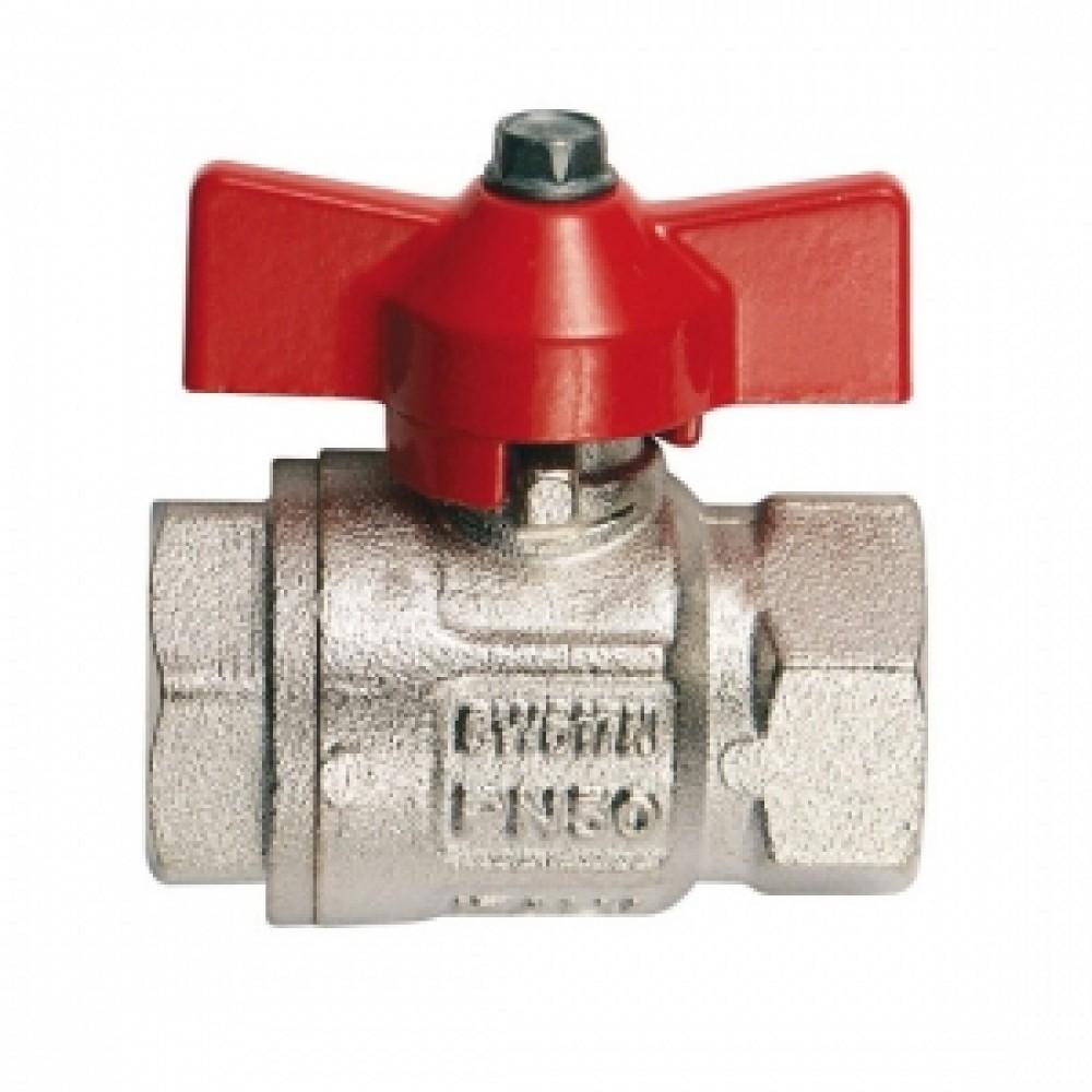 Кран шаровой полнопроходной ITAP IDEAL 092 - 3/4' (ВР/ВР, PN40, Tmax 150°С, ручка-бабочка красная) 26094