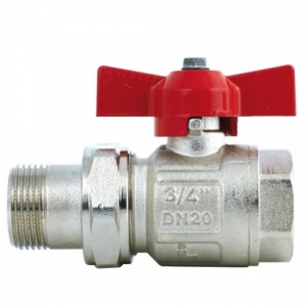 Кран шаровой полнопроходной ITAP IDEAL 098 - 1' (ВР/НГ, PN40, Tmax 150°С, ручка-бабочка красная) 26098