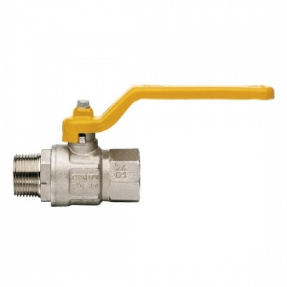 Кран шаровой полнопроходной ITAP LONDON 067 - 1'1/2 (НР/ВР, PN5, ручка-рычаг желтая, для газа) 067B112