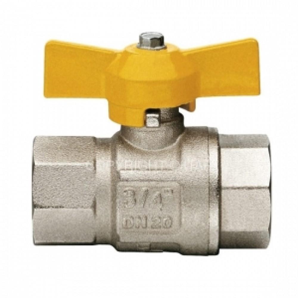 Кран шаровой полнопроходной ITAP LONDON 068 - 3/4' (ВР/ВР, PN5, ручка-бабочка желтая, для газа) 068B034