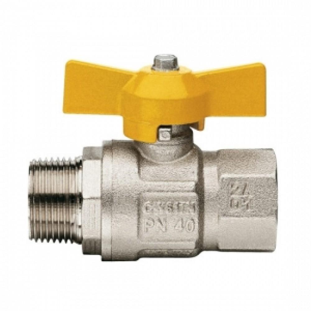 Кран шаровой полнопроходной ITAP LONDON 067 - 1'1/4 (НР/ВР, PN5, ручка-рычаг желтая, для газа) 067B114