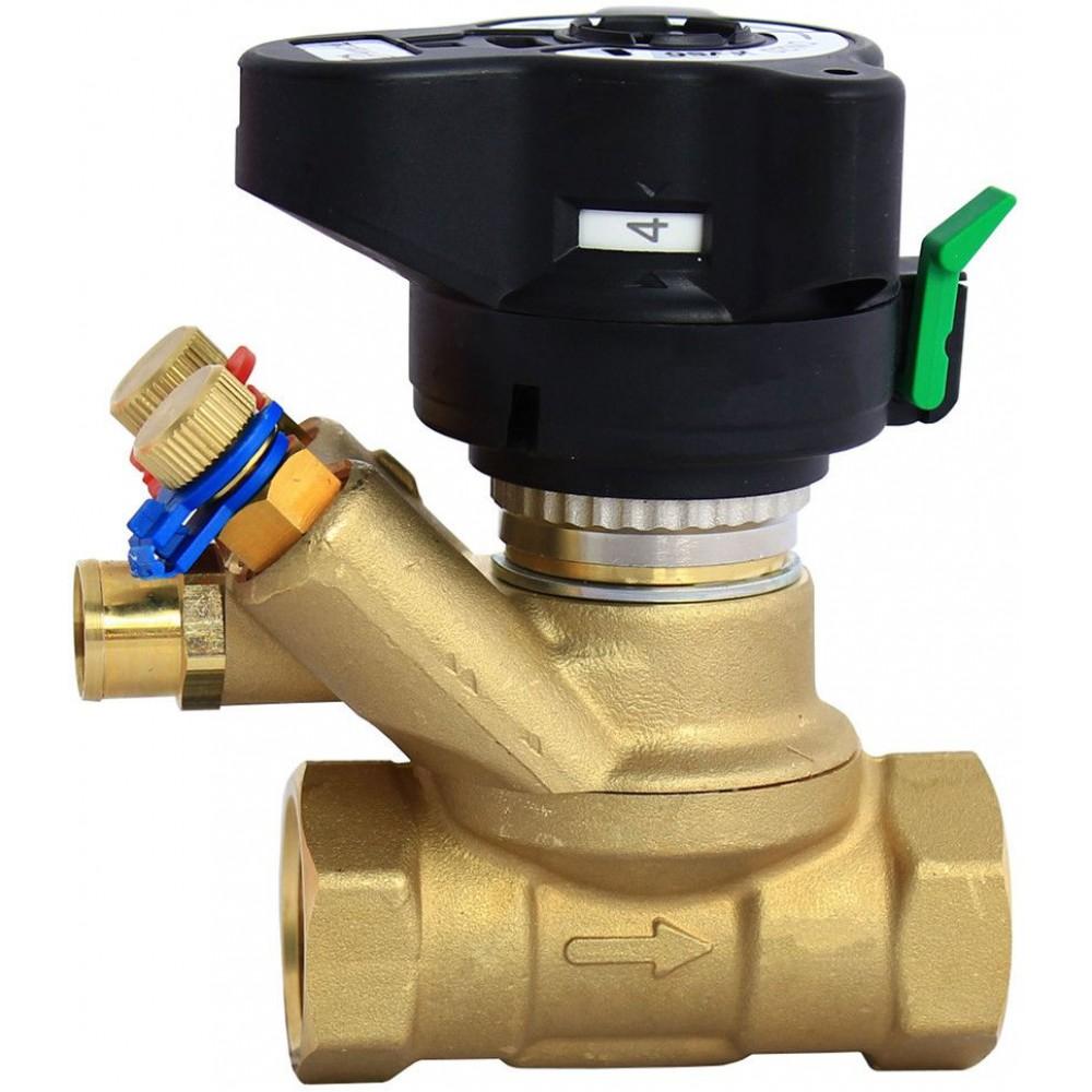 Клапан балансировочный ручной латунь MVT Ду 32 Ру20 ВР Kvs=18м3/ч с изм/нип без выхода под имп трубку Danfoss 003Z4084