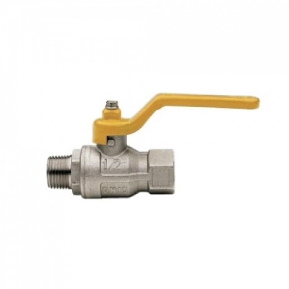 Кран шаровой полнопроходной ITAP BERLIN 071 - 1/2' (НР/ВР, PN5, ручка-рычаг желтая, для газа) 071B012