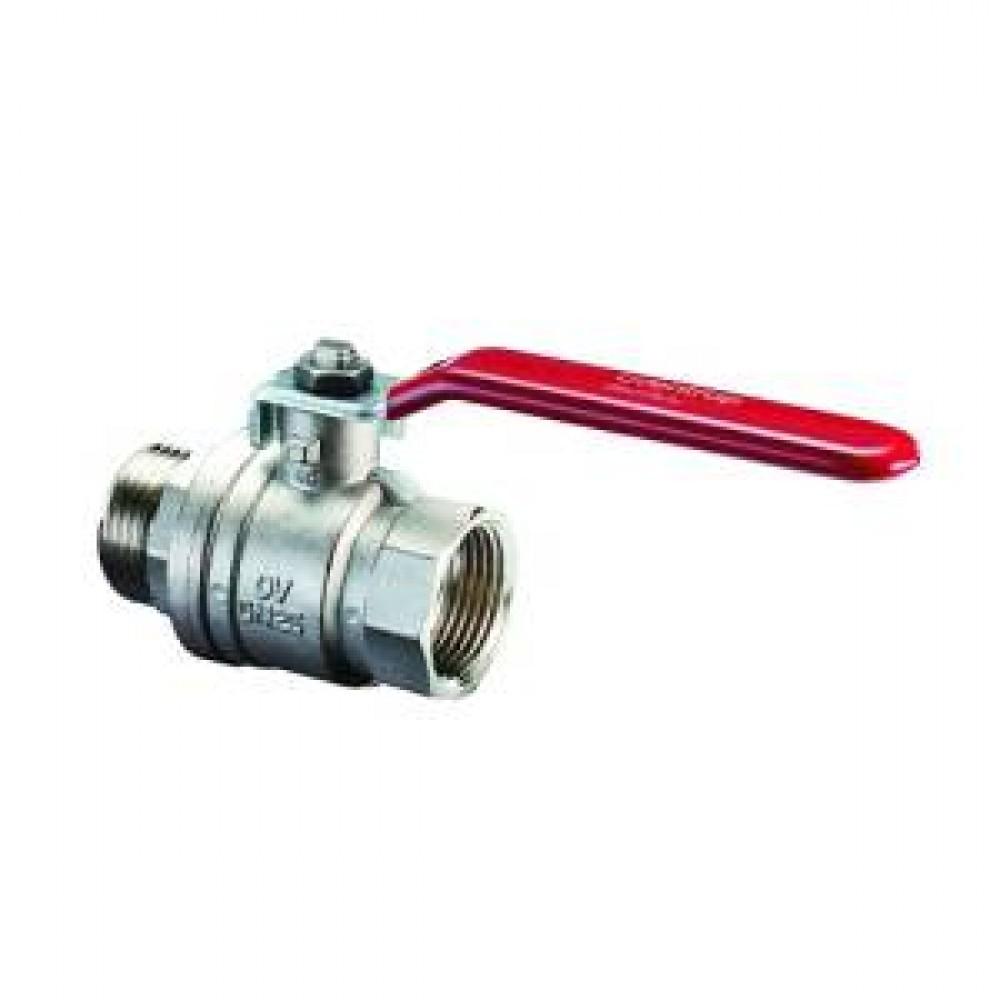Кран шаровой полнопроходной Oventrop Optibal - 3/8' (НР/ВР, PN16, Tmax 100°C, ручка-рычаг красная) 1076203
