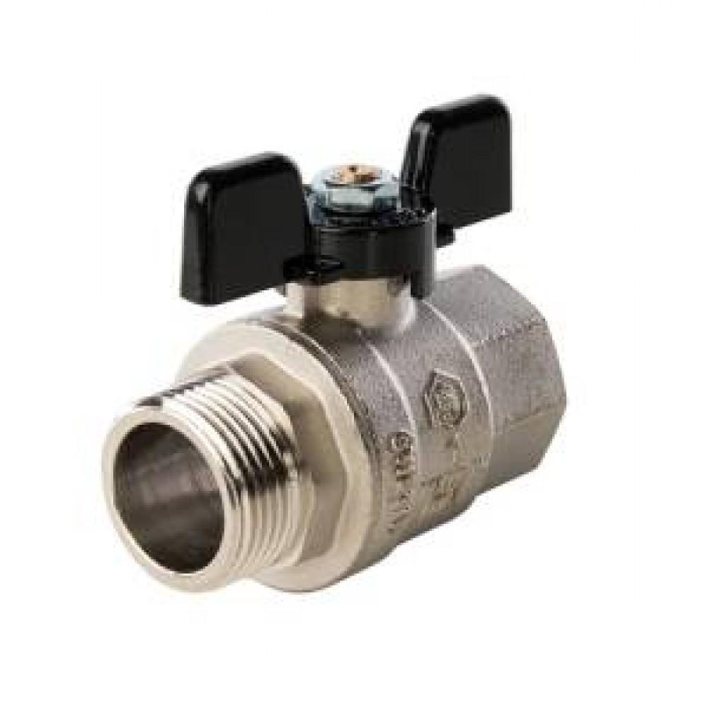 Кран шаровой полнопроходной STOUT - 1/2' (НР/ВР, PN40, Tmax 150°С, ручка-бабочка черная) SVB-0004-000015