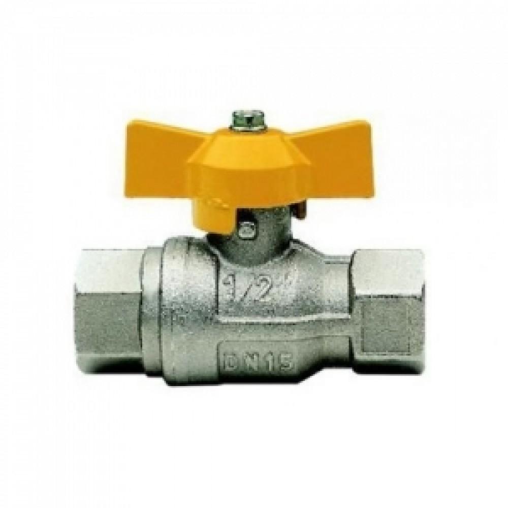 Кран шаровой полнопроходной ITAP BERLIN 072 - 1' (ВР/ВР, PN5, ручка-бабочка желтая, для газа) 072B100