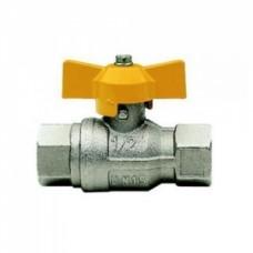 Кран шаровой полнопроходной ITAP BERLIN 072 - 1/2' (ВР/ВР, PN5, ручка-бабочка желтая, для газа) 072B012