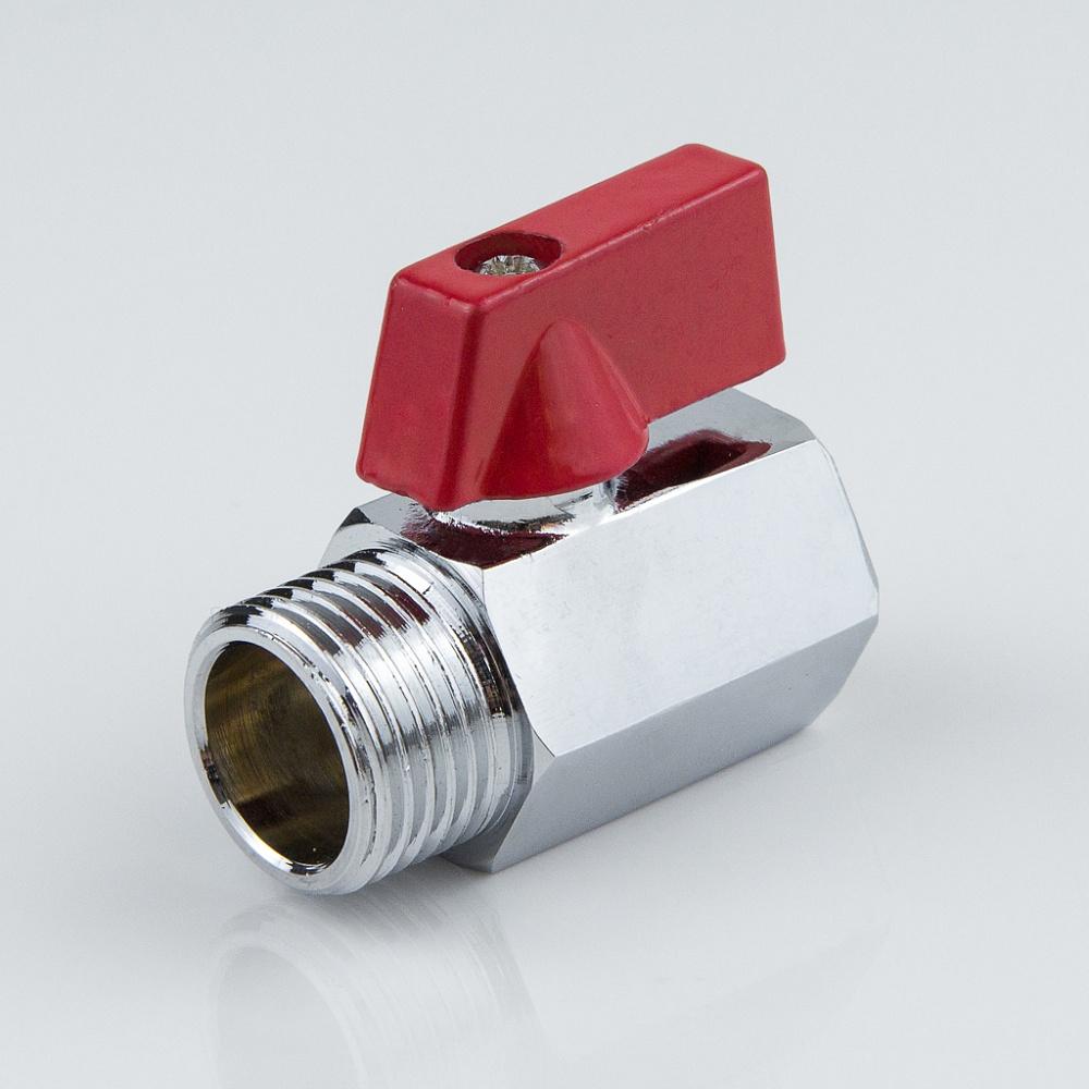 Кран шаровой латунь хром мини 1032 Ду 15 Ру10 ВР/НР полнопроходной флажок Aquasfera 1032-01