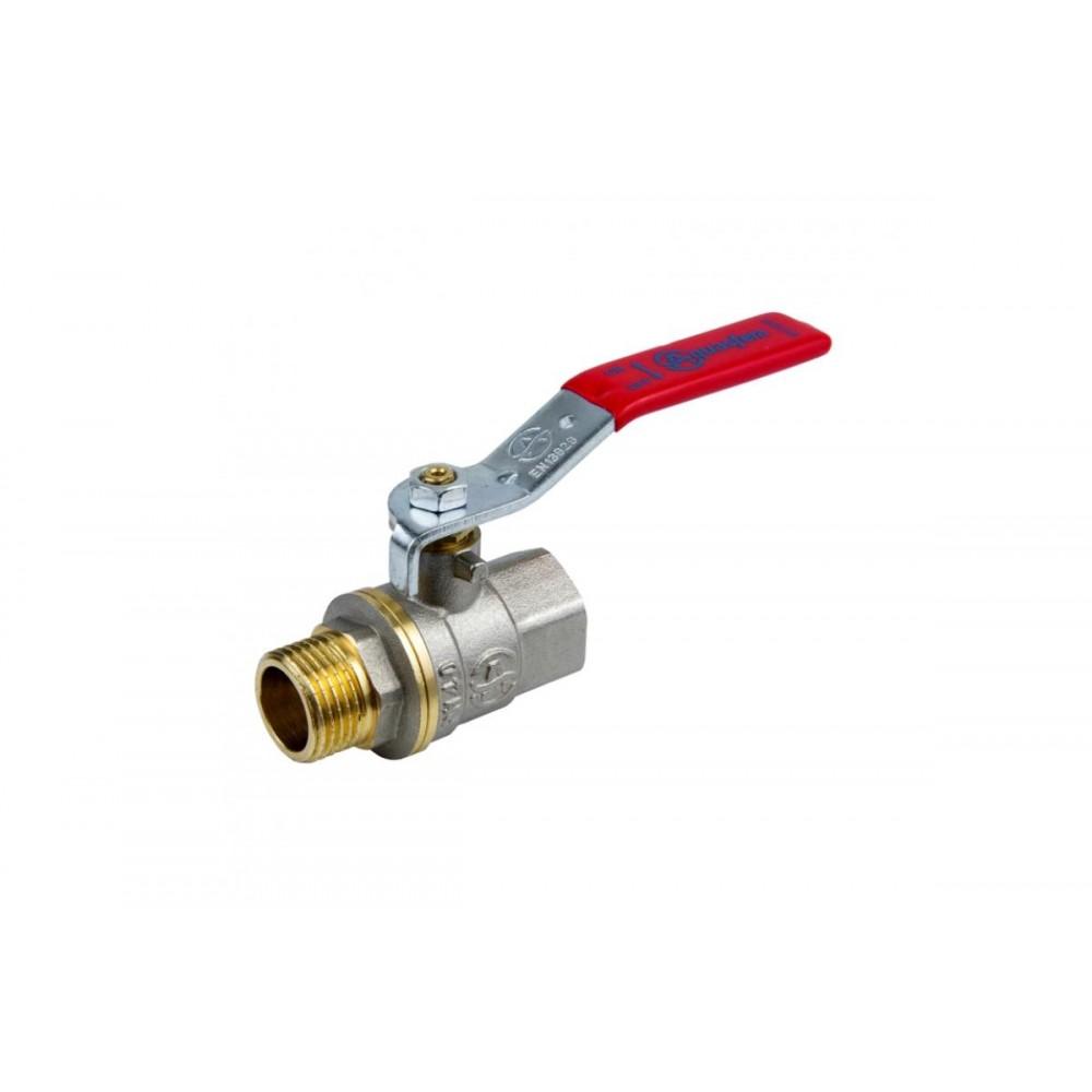 Кран шаровой латунь никель 1003 Euro Ду 32 Ру20 ВР/НР полнопроходной рычаг Aquasfera 1003-04