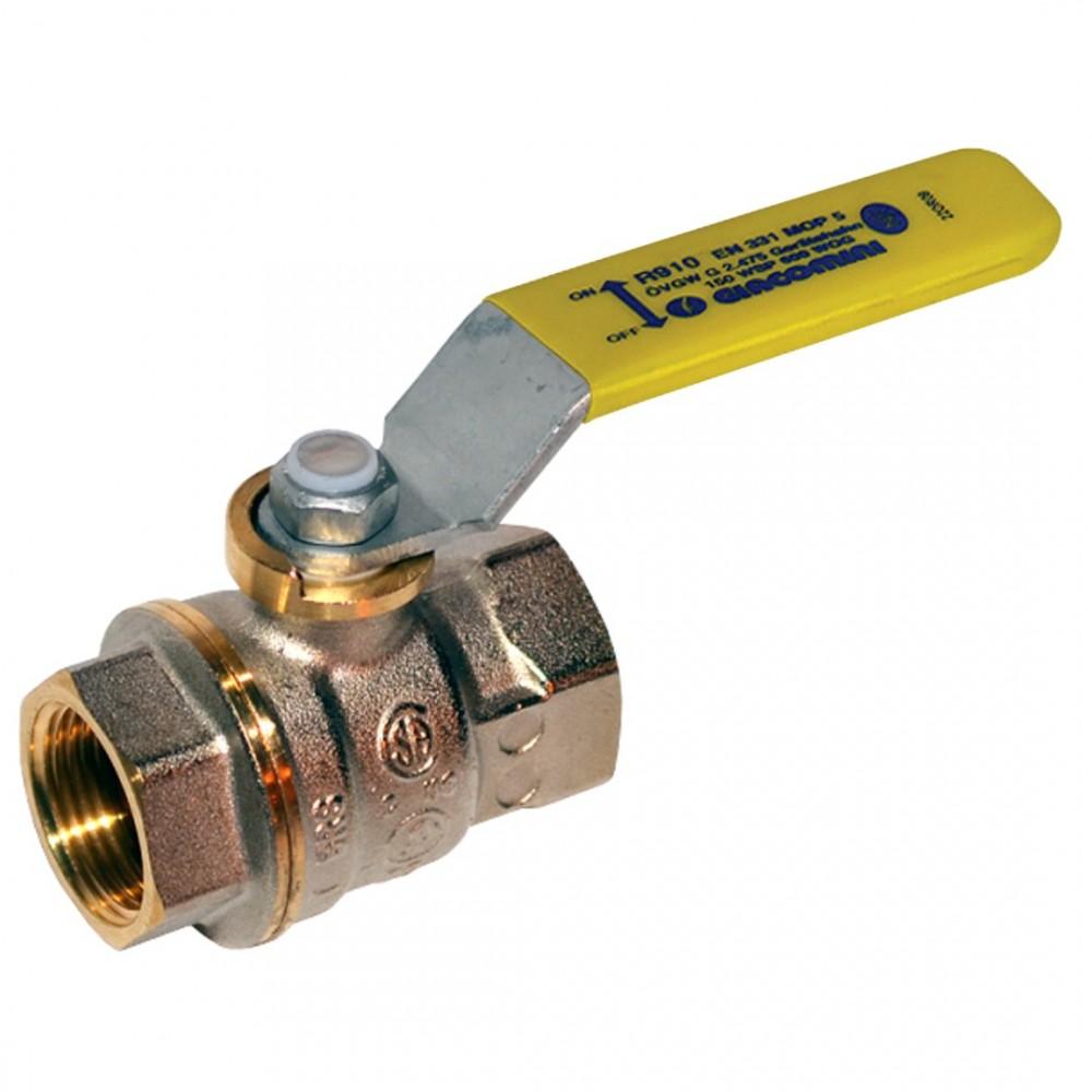 Кран шаровой латунь никель газ R910 Ду 32 Ру12 ВР полнопроходной рычаг Giacomini R910X006