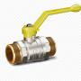 Кран шаровой латунь никель газ Pride Ду 15 Ру40 НР полнопроходной рычаг  11б27п LD 47.15.Н-Н.Р .