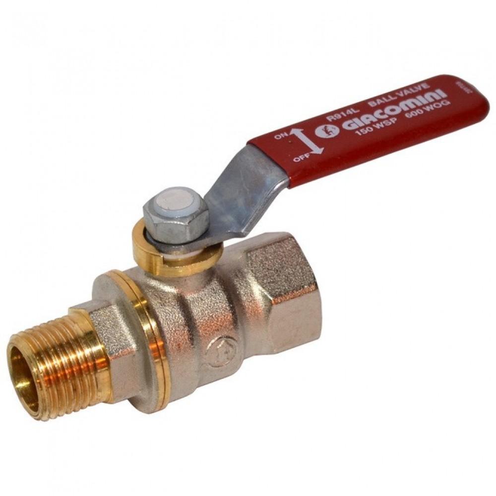 Кран шаровой латунь никель R914L Ду 15 Ру42 ВР/НР полнопроходной рычаг Giacomini R914LX023