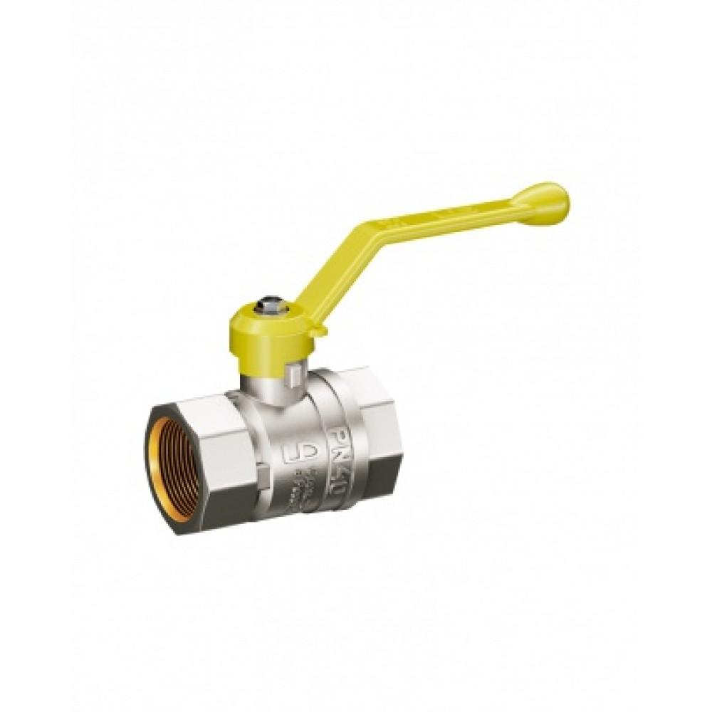 Кран шаровой латунь никель газ Pride Ду 25 Ру40 ВР полнопроходной рычаг  11б27п LD 47.25.В-В.Р .