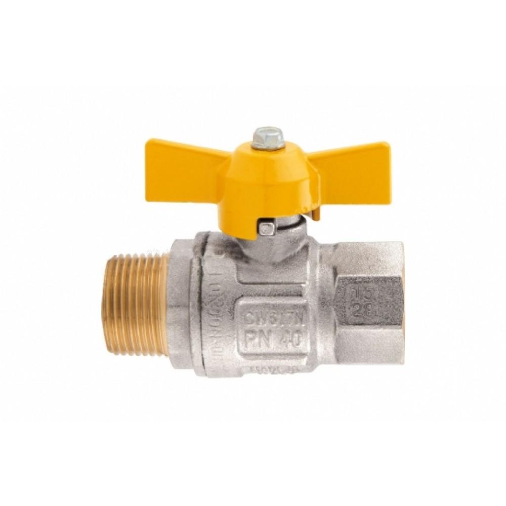 Кран шаровой полнопроходной ITAP BERLIN 073 - 3/4' (НР/ВР, PN5, ручка-бабочка желтая, для газа) 073B034