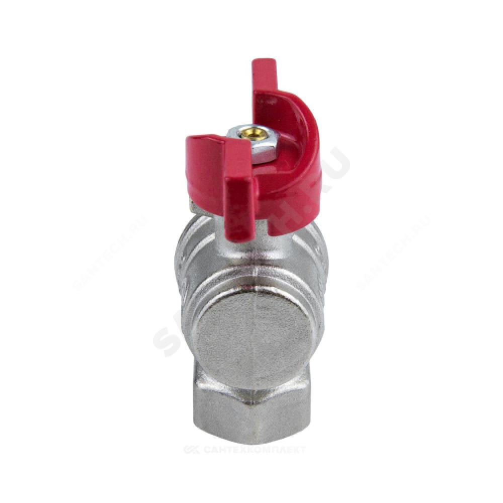 Кран шаровой латунь никель угловой 1008 Euro Ду 15 Ру40 ВР полнопроходной бабочка Aquasfera 1008-01