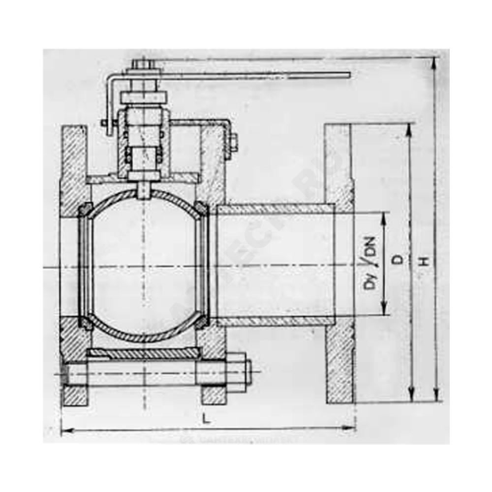 Кран шаровой стальной 11с67п Ду 125 Ру16 фланцевый Маршал 2СФ.00.1.016.125/100