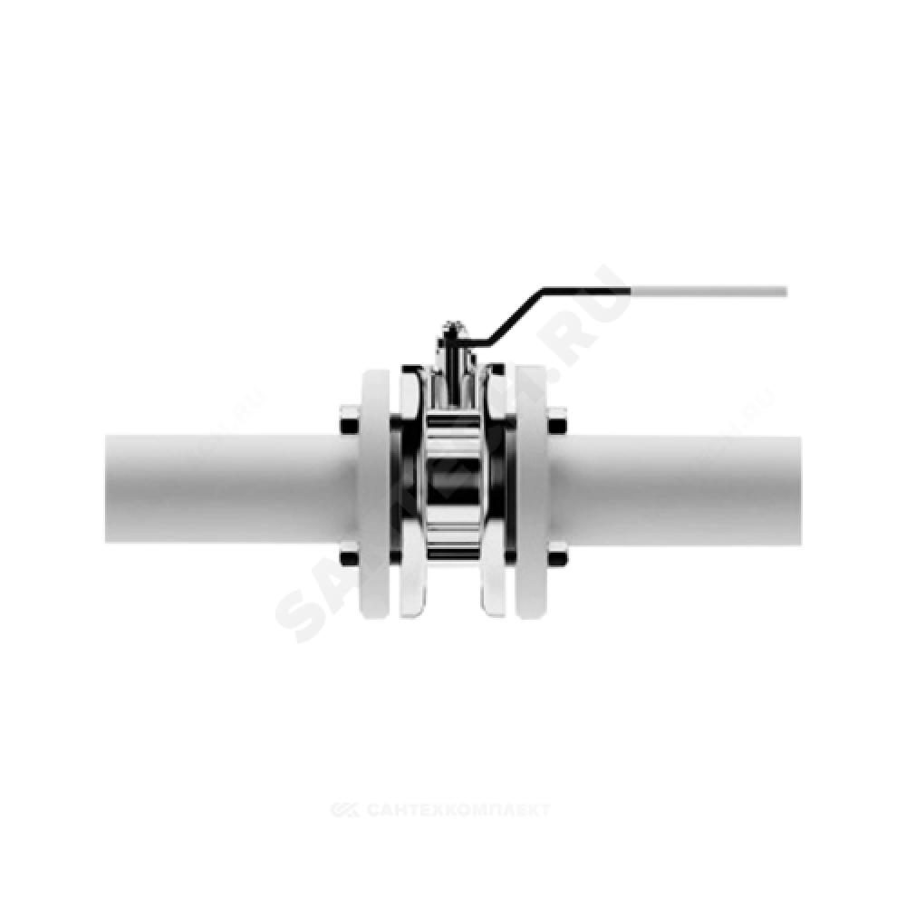 Кран шаровой стальной Стриж Ду 40 Ру16 межфланцевый полнопроходной оцинкован L=67мм LD 040.016.02.Zn