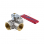 Кран шаровой латунь никель 3-ход 1020Euro Ду 15 Ру40 ВР полнопроходной рычаг Aquasfera 1020-01
