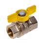 Кран шаровой латунь никель газ R911 Ду 20 Ру12 ВР полнопроходной бабочка Giacomini R911X004