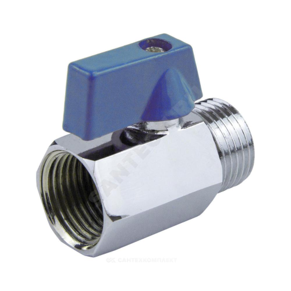 Кран шаровой латунь хром мини 1033 Ду 15 Ру10 ВР/НР полнопроходной флажок Aquasfera 1033-01