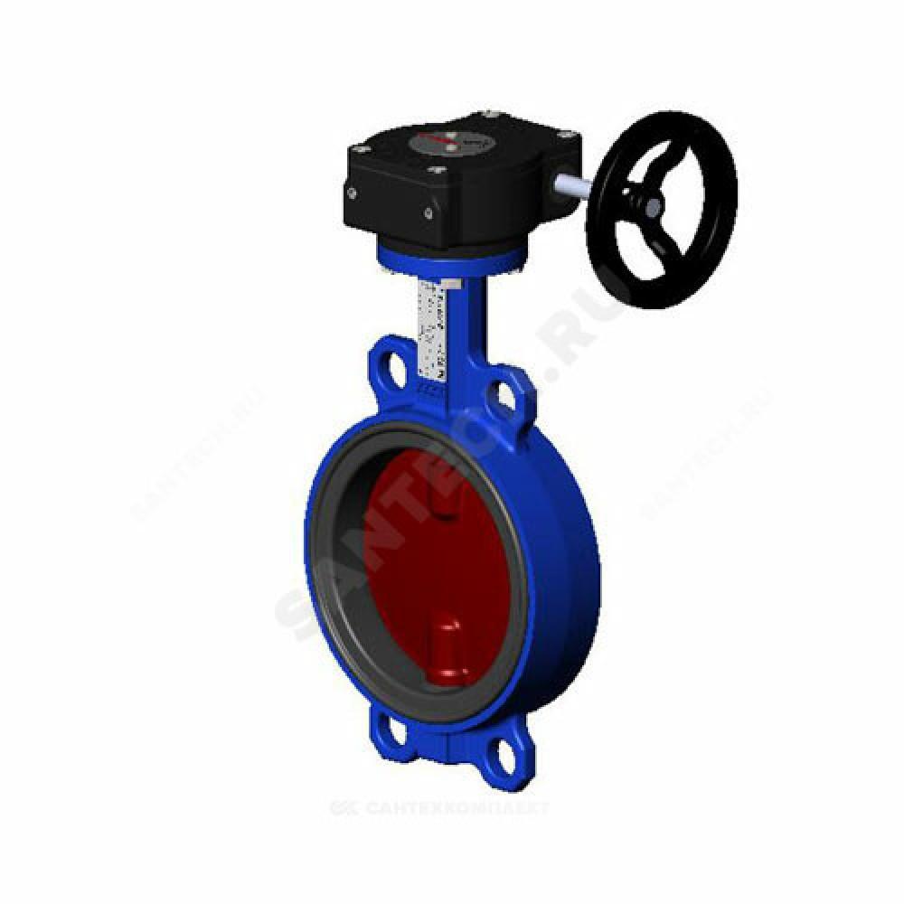 Затвор дисковый поворотный чугунный VPI4448-08EP Ду 300 Ру16 межфланцевый с редуктором диск чугунный манжета EPDM Tecofi VPI4448-08EP0300