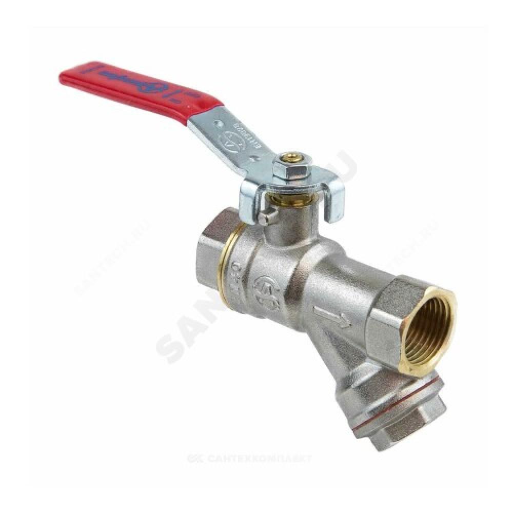 Кран-фильтр шаровой латунь никель 1014 Ду 15 Ру40 ВР полнопроходной рычаг Aquasfera 1014-01
