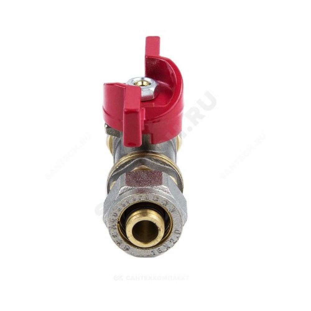 Кран шаровой латунь никель 1018 Euro Дн 20 Ру16 обжим бабочка Aquasfera 1018-03