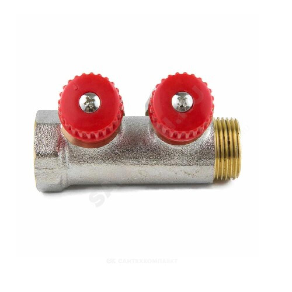 """Коллектор латунь 7018 3/4"""" ВР/НР на 4 вых Дн16 обжим с регулирующими клапанами, красные ручки для мп Aquasfera 7018-03"""