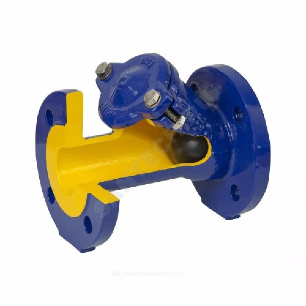 Клапан обратный чугун шаровой 400D Ду 80 Ру16 Тмакс=70 оС фланцевый шар сталь Zetkama 400D080C55