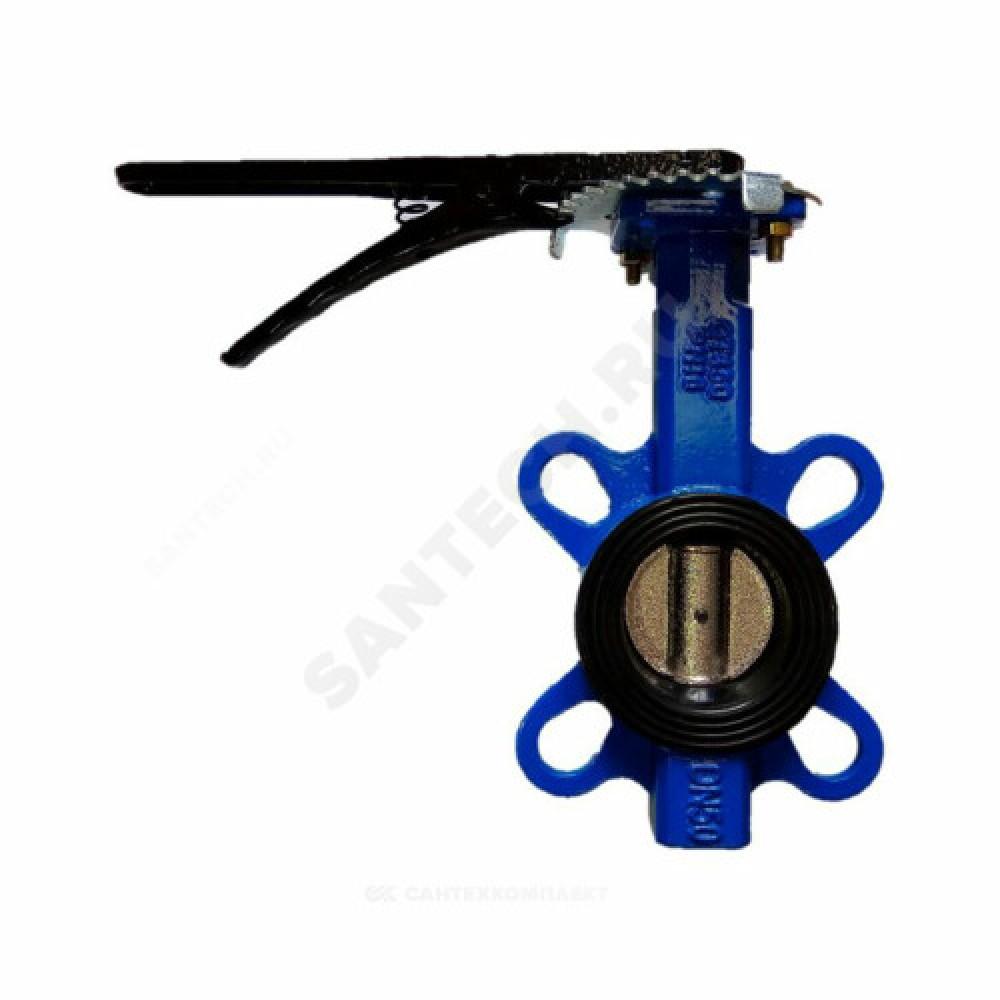 Затвор дисковый поворотный чугунный Ду 65 Ру16 межфланцевый с рукояткой диск чугунный манжета EPDM