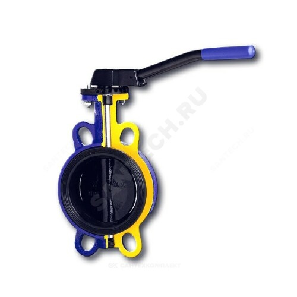 Затвор дисковый поворотный чугунный 497B Ду 40 Ру16 межфланцевый с рукояткой диск чугунный манжета EPDM Zetkama 497B040C67