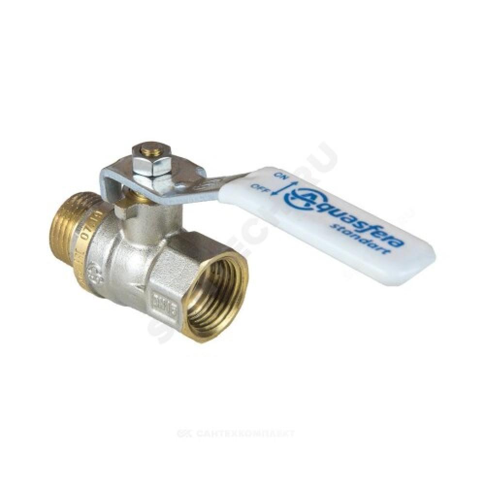 Кран шаровой латунь никель 1103 Standard Ду 50 Ру16 ВР/НР полнопроходной рычаг Aquasfera 1103-06