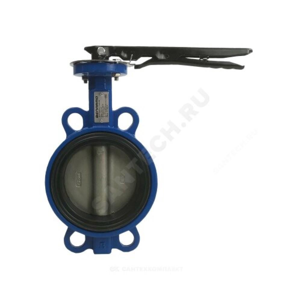 Затвор дисковый поворотный чугунный Ду 125 Ру16 межфланцевый с рукояткой диск нерж EURO Benarmo