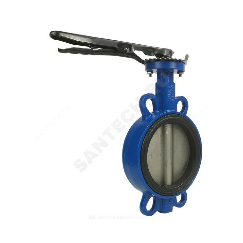Затвор дисковый поворотный чугунный Ду 150 Ру16 межфланцевый с рукояткой диск нерж EURO Benarmo