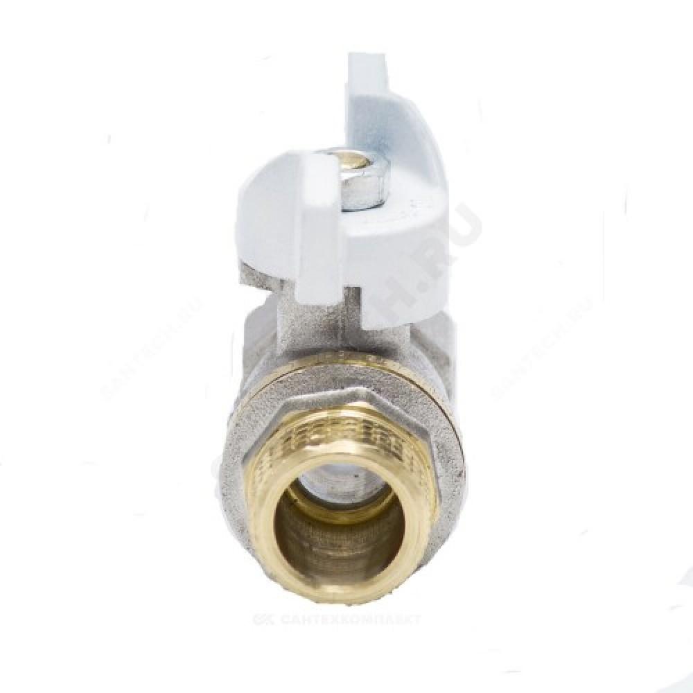 Кран шаровой латунь никель 1104 Standard Ду 15 Ру40 ВР/НР полнопроходной бабочка Aquasfera 1104-01