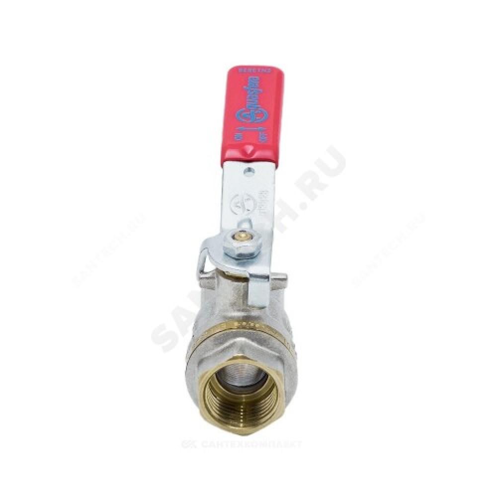 Кран шаровой латунь никель 1001 Euro Ду 15 Ру40 ВР полнопроходной рычаг Aquasfera 1001-01