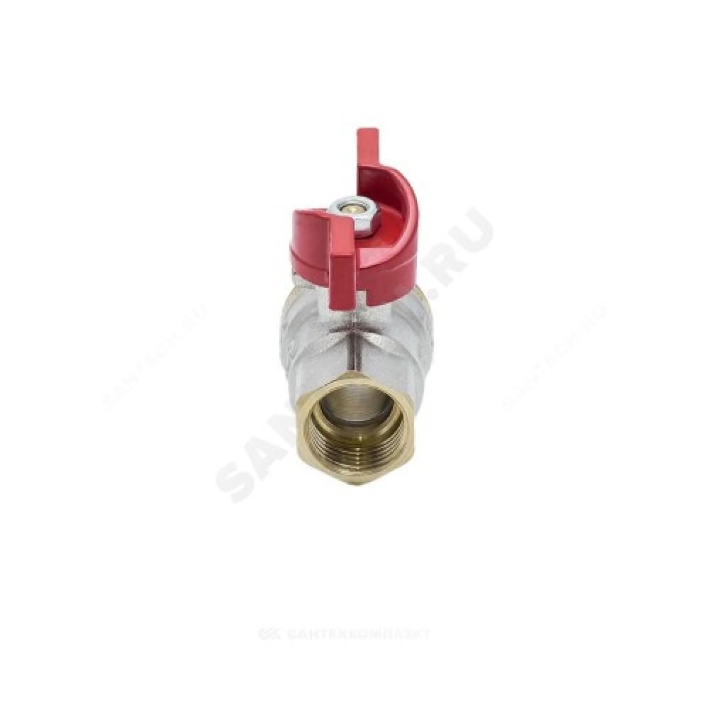 Кран шаровой латунь никель 1004 Euro Ду 20 Ру30 ВР/НР полнопроходной бабочка Aquasfera 1004-02