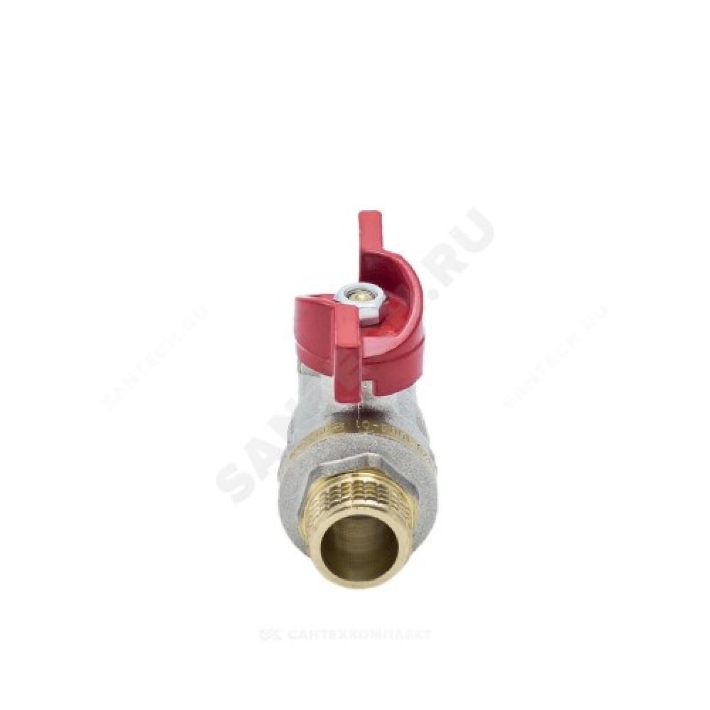 Кран шаровой латунь никель 1004 Euro Ду 25 Ру25 ВР/НР полнопроходной бабочка Aquasfera 1004-03