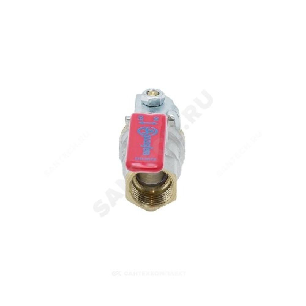 Кран шаровой латунь никель 1003 Euro Ду 15 Ру40 ВР/НР полнопроходной рычаг Aquasfera 1003-01