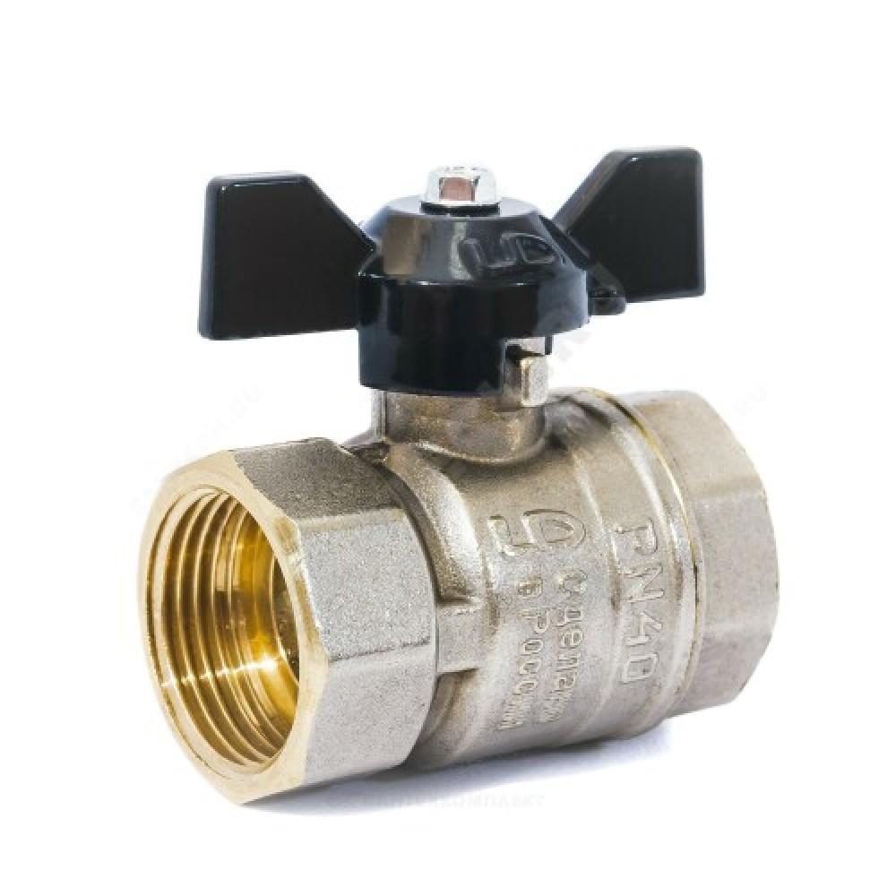 Кран шаровой латунь никель Pride Ду 20 Ру40 ВР полнопроходной бабочка  11б27п1 LD 47.20.В-В.Б .