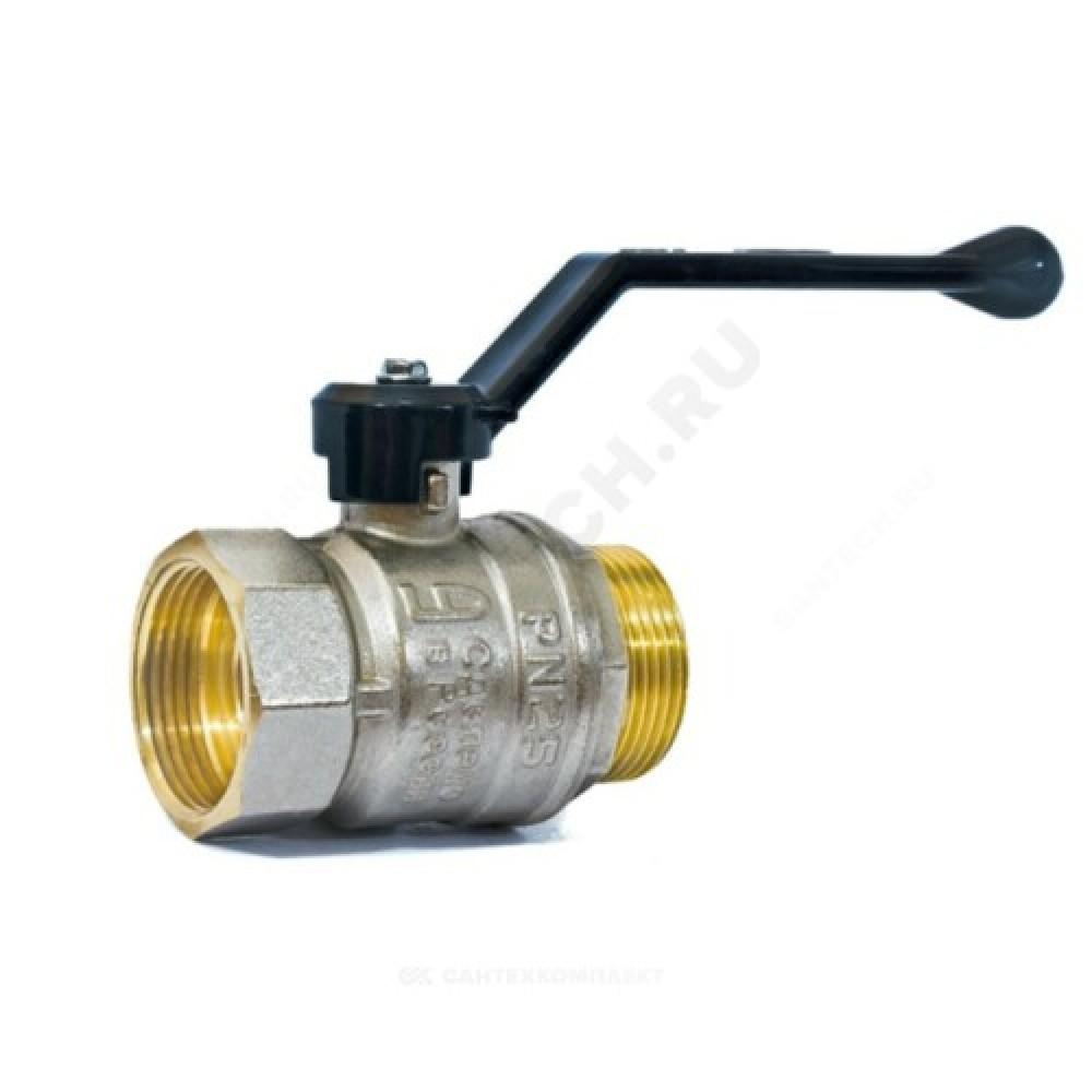 Кран шаровой латунь никель Pride Ду 50 Ру25 ВР/НР полнопроходной рычаг  11б27п1 LD 47.50.В-Н.Р .