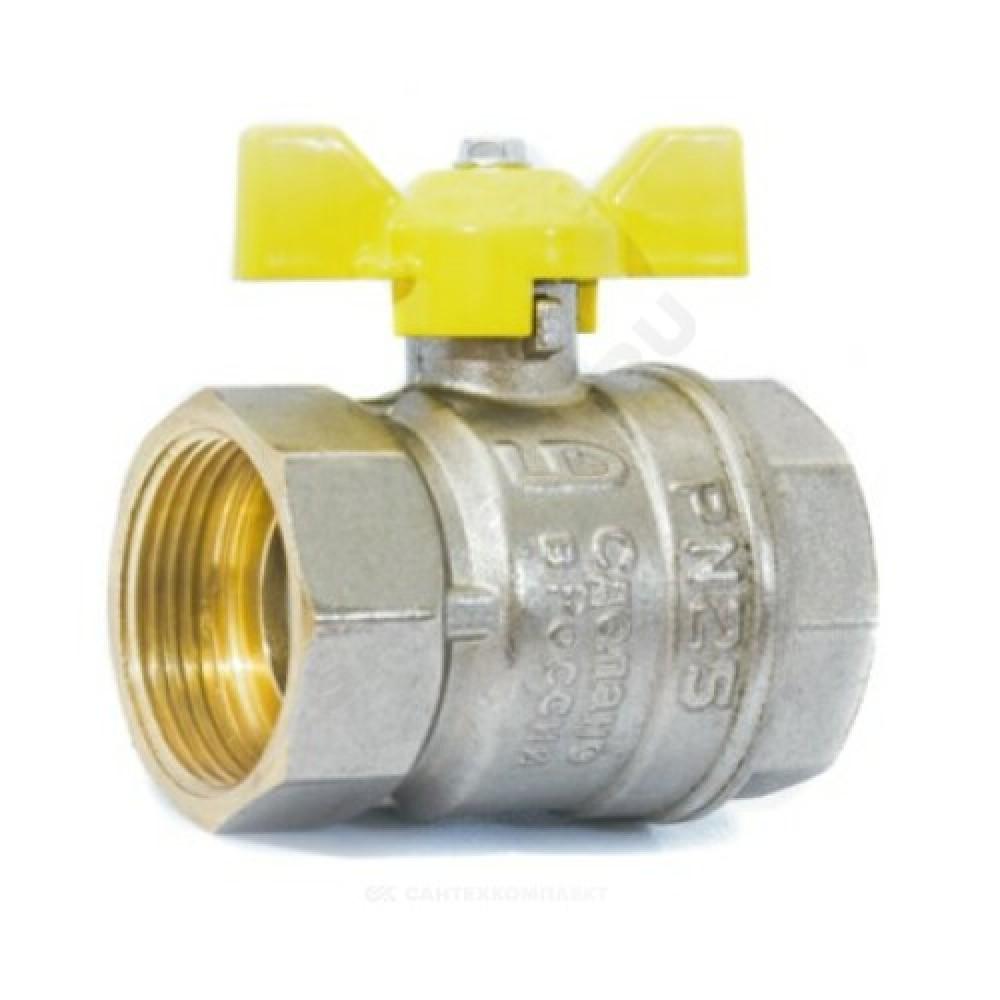 Кран шаровой латунь никель газ Pride Ду 15 Ру40 ВР полнопроходной бабочка  11б27п LD 47.15.В-В.Б .