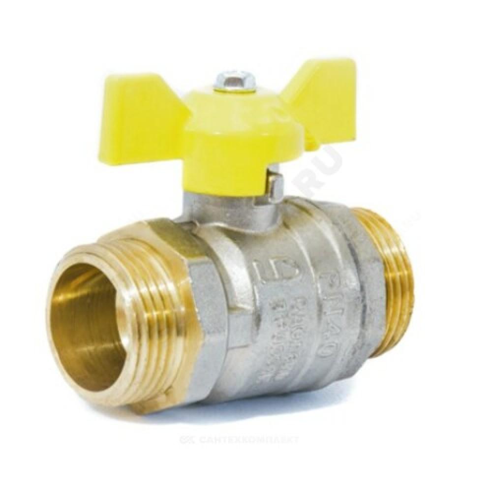 Кран шаровой латунь никель газ Pride Ду 20 Ру40 НР полнопроходной бабочка  11б27п LD 47.20.Н-Н.Б .